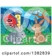 Clipart Of Happy Brown And Gray Bunny Rabbits In A Barn Yard Royalty Free Vector Illustration