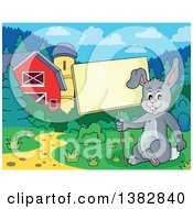 Happy Gray Bunny Rabbit Holding A Blank Sign In A Barn Yard