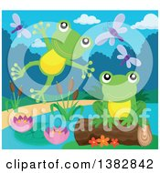 Clipart Of Happy Green Frogs Leaping And Jumping At A Pond Royalty Free Vector Illustration by visekart