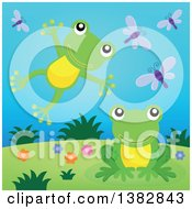 Clipart Of Happy Green Frogs Leaping And Jumping On A Hill Royalty Free Vector Illustration by visekart