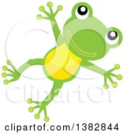 Clipart Of A Happy Green Frog Jumping Royalty Free Vector Illustration