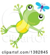 Happy Green Frog Jumping After A Dragonfly