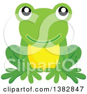 Clipart Of A Happy Green Frog Sitting Royalty Free Vector Illustration