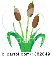 Clipart Of A Cat Tail Aquatic Plant Royalty Free Vector Illustration