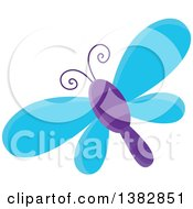 Clipart Of A Blue And Purple Dragonfly Royalty Free Vector Illustration