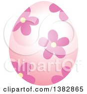 Clipart Of A Pink Easter Egg With Flowers Royalty Free Vector Illustration