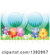 Clipart Of Decorated Easter Eggs In The Grass Royalty Free Vector Illustration