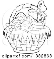 Clipart Of A Black And White Lineart Basket Of Easter Eggs Royalty Free Vector Illustration
