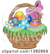 Clipart Of A Basket Of Easter Eggs Royalty Free Vector Illustration by visekart