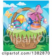 Clipart Of A Basket Of Easter Eggs Outdoors With Butterflies Royalty Free Vector Illustration