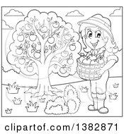 Black And White Lineart Female Farmer Harvesting Apples
