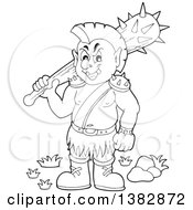 Black And White Lineart Orc Holding A Club Over His Shoulder