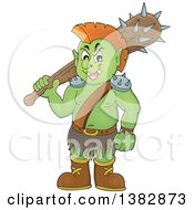 Clipart Of A Green Orc Holding A Club Over His Shoulder Royalty Free Vector Illustration