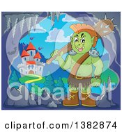 Clipart Of A Green Orc Holding A Club Over His Shoulder In A Cave Near A Castle Royalty Free Vector Illustration by visekart