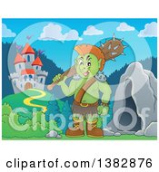 Clipart Of A Green Orc Holding A Club Over His Shoulder By A Cave And Castle Royalty Free Vector Illustration by visekart