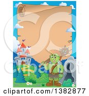 Clipart Of A Green Orc Holding A Club Over His Shoulder Near A Castle With A Parchment Scroll Page Royalty Free Vector Illustration by visekart