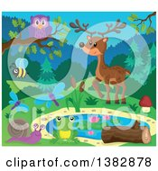Clipart Of A Pond With Wild Animals And Insects Royalty Free Vector Illustration by visekart