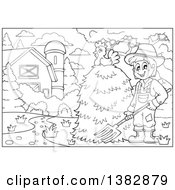 Clipart Of A Black And White Lineart Farmer Raking Hay In A Barn Yard A Hen On Top Of The Stack Royalty Free Vector Illustration by visekart