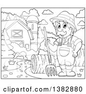 Clipart Of A Black And White Lineart Male Farmer With Hay In A Barnyard Royalty Free Vector Illustration by visekart