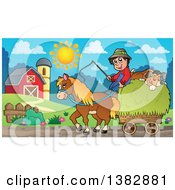 Farmer And Dog Riding On A Hay Cart Drawn By A Horse In A Cart