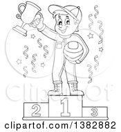 Clipart Of A Black And White Lineart Race Car Driver Holding His Helmet And First Place Trophy On A Podium Royalty Free Vector Illustration