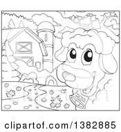Clipart Of A Black And White Lineart Sheep Looking Around The Corner In A Barn Yard Royalty Free Vector Illustration by visekart
