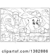 Black And White Lineart Happy Pig Looking Over A Fence In A Barnyard