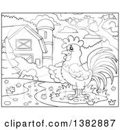 Clipart Of A Black And White Lineart Rooster In A Barnyard Royalty Free Vector Illustration