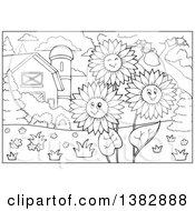 Clipart Of A Black And White Lineart Barn Yard With Happy Sunflowers Royalty Free Vector Illustration by visekart