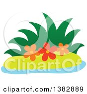Clipart Of A Small Island With Grass And Flowers Royalty Free Vector Illustration by visekart
