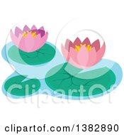 Pink Lotus Water Lily Flowers And Pads