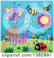 Clipart Of A Butterfly Snail Ladybug And Bees Around Flowers On A Hill Royalty Free Vector Illustration by visekart