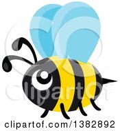 Clipart Of A Flying Happy Bee Royalty Free Vector Illustration