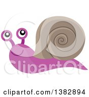 Clipart Of A Happy Purple And Brown Snail Royalty Free Vector Illustration by visekart