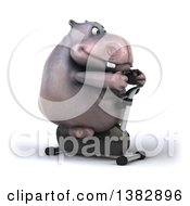 Clipart Of A 3d Henry Hippo Character Working Out On A Spin Bike On A White Background Royalty Free Illustration