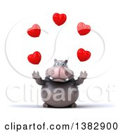 Clipart Of A 3d Henry Hippo Character Juggling Hearts On A White Background Royalty Free Illustration