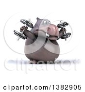 Clipart Of A 3d Henry Hippo Character Working Out On A White Background Royalty Free Illustration