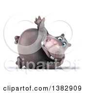 Clipart Of A 3d Henry Hippo Character On A White Background Royalty Free Illustration