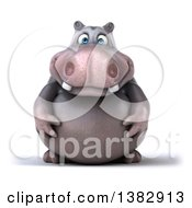 3d Henry Hippo Character On A White Background