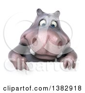 Clipart Of A 3d Henry Hippo Character On A White Background Royalty Free Illustration by Julos
