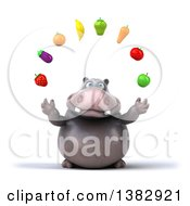 Clipart Of A 3d Henry Hippo Character Juggling Produce On A White Background Royalty Free Illustration by Julos