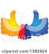 Clipart Of Gradient Hands Giving Thumbs Up Royalty Free Vector Illustration