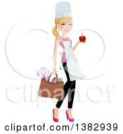 Clipart Of A Blond Caucasian Chef Woman Carrying A Bag Of Utensils And Holding A Chocolate Dipped Apple In One Hand Royalty Free Vector Illustration