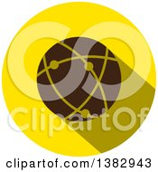 Flat Design Round Network Globe Icon