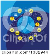 Clipart Of A Social Network Globe With Business People And Icons On Blue Royalty Free Vector Illustration