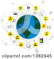 Social Network Globe With Business People And Icons
