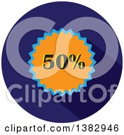 Flat Design Round Fifty Percent Icon