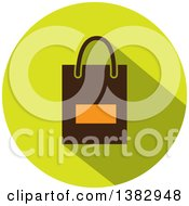 Flat Design Round Shopping Bag Icon