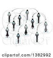 Clipart Of A Chart Of People Doing The Ice Bucket Challenge Royalty Free Vector Illustration