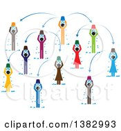 Clipart Of A Chart Of Colorful People Doing The Ice Bucket Challenge Royalty Free Vector Illustration